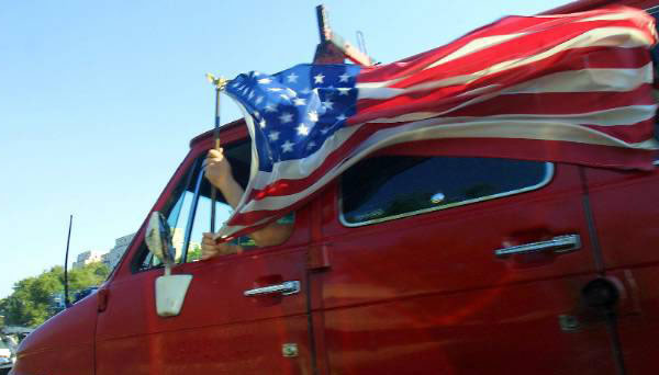 Pompiers drapeau américain