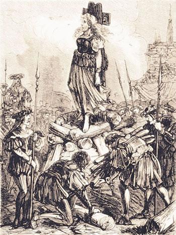 Elisabeth Plainacher sur le bûcher