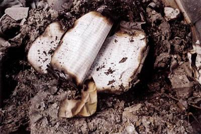 Carnet brûlé dans les décombres du World Trade Center