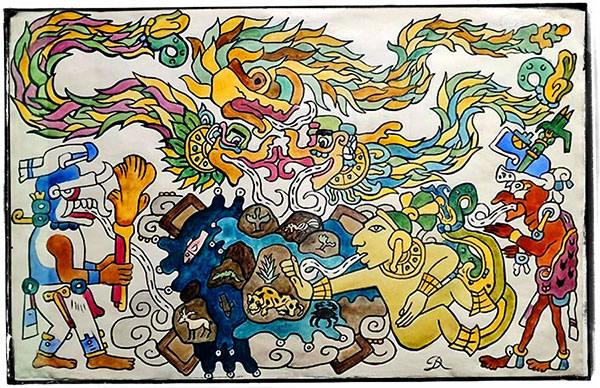 Création de l'Univers selon le Popol Vuh par Diego Rivera