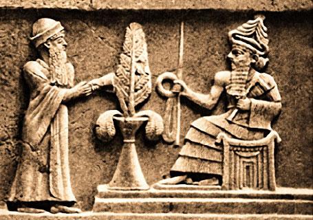 Dieu Enlil sur son trône