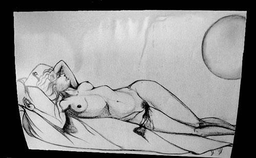 Illustration d'un nu féminin d'une jeune femme attendant l'incubation