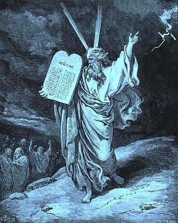 Moïse redescendant du Mont Sinaï avec les 10 Commandements