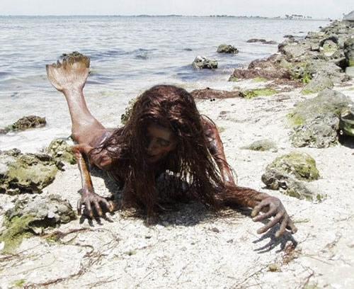 Sirène échouée sur une plage