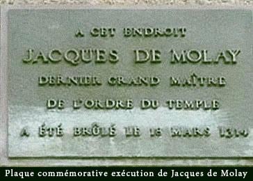 Plaque commémorative exécution de Jacques de Molay