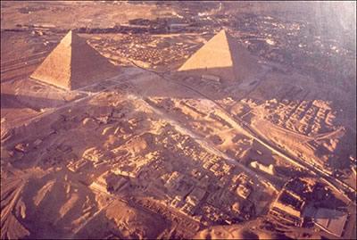 Vue aérienne du site de Gizeh